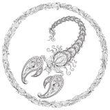 Modell för färgläggningbok scorpion royaltyfri illustrationer
