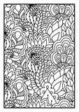 Modell för färgläggningbok Svartvit bakgrund med blom-, etniskt, hand drog beståndsdelar för design Arkivfoto