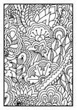Modell för färgläggningbok Svartvit bakgrund med blom-, etniskt, hand drog beståndsdelar för design Arkivbilder
