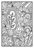 Modell för färgläggningbok Svartvit bakgrund med blom-, etniskt, hand drog beståndsdelar för design Stock Illustrationer