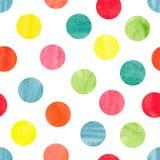 Modell för färgrik prick för vattenfärg sömlös stock illustrationer