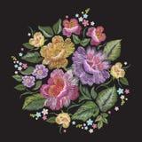 Modell för färgrik trend för broderi blom- med rosor Royaltyfria Foton