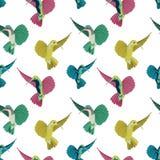 Modell för färgrika kolibrier för vektor sömlös på färgbakgrund royaltyfri illustrationer