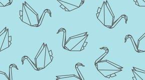 Modell för fågel för origamiöversiktskran sömlös Linjär japansk vektorprydnad vektor illustrationer