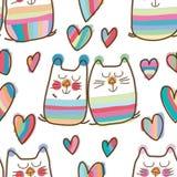 Modell för förälskelse för söt dröm för kattpar sömlös royaltyfri illustrationer