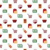 Modell för för shoppingsymbolsuppsättning och tecken Vektor Illustrationer