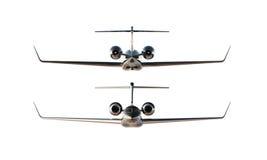 Modell för flygplan för svart glansig lyxig generisk design för foto privat Klar modell isolerad tom vit bakgrund Affär Arkivbilder