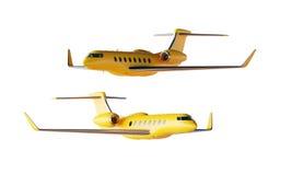 Modell för fotoMatte Yellow Luxury Generic Design privat flygplan Klar modell isolerad tom vit bakgrund Affär Fotografering för Bildbyråer