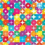 Modell för fyrkantig för diamant för stjärnacirkel sömlös symmetri för form färgrik stock illustrationer