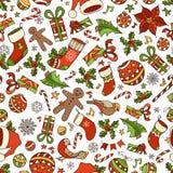 Modell för glad jul för vektor sömlös Arkivbilder
