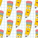 Modell för gladlynt blyertspenna för tecknad film sömlös Arkivfoton