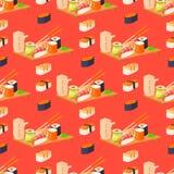 Modell för gourmet- havs- traditionell för havsväxt för mat och för japan för vektor för sushirullar sömlös ny rå illustration fö stock illustrationer