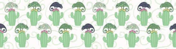 Modell för gräns för kameleontödla- och kaktusväxt sömlös F?r tegelplattavektor f?r gr?n reptil repeatable illustration vektor illustrationer