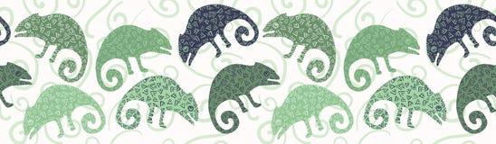 Modell för gräns för kameleontödla sömlös Repeatable vektorillustration för grön reptil royaltyfri illustrationer