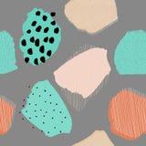 Modell för grå färger för bär för collagesamtidaabstrakt begrepp sömlös vektor illustrationer