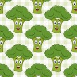 Modell för grön broccoli för tecknad film sömlös Royaltyfria Foton