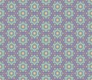 Modell för gröna färger för mellersta östlig stil lila sexhörnig sömlös Vektor Illustrationer