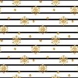 Modell för guld- snöflinga för jul sömlös Guld- blänka snöflingor på svarta vita linjer bakgrund December 2009 stock illustrationer