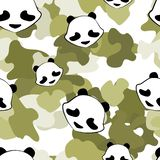 Modell för gullig kamouflage för pandabjörn djur sömlös vektor illustrationer