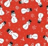 Modell för gullig snögubbe för glad jul sömlös Arkivfoton