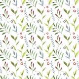 Modell för gulliga utsmyckade blommor för vattenfärg sömlös Illustration i dekorativ stil naturliga element Hand målat blom- royaltyfri illustrationer