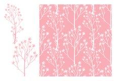 Modell för gulligt bröllop för vektor sömlös Tenderar den vita handen drog blommakvistar som isoleras på en rosa färg, bakgrund stock illustrationer