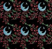 Modell för härlig vattenfärg för seamlesChristmas för julvattenfärg härlig sömlös med ugglor, snöflingor och frunch med dekoren royaltyfri illustrationer