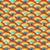 Modell för halv cirkel för regnbåge ljus dold sömlös Arkivbild