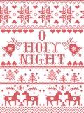 Modell för helig julsång för natt för julmodellnolla som sömlös inspireras vid festlig vinter för nordisk kultur i det sydde kors vektor illustrationer