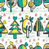 Modell för horisontalfri teckning för trädfågeläpple sömlös stock illustrationer