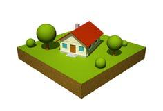 modell för hus 3d Royaltyfria Bilder