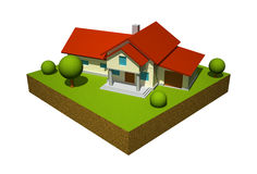 modell för hus 3d stock illustrationer