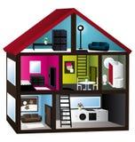 modell för hus 3d royaltyfri illustrationer