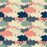 Modell för illustrationer för regnsäsongvektor sömlös Arkivbild