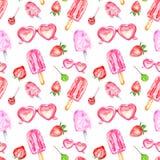 Modell för isglassar för vattenfärgsommarbär sömlös på vit bakgrund Hjärta formade solglasögon, jordgubben, klubba stock illustrationer