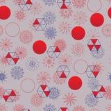 Modell för japansk stil för sol för Mandalacirkel ut röd sömlös Royaltyfri Fotografi