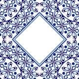 Modell för keramisk tegelplatta med vattenfärgprydnaden Islamiskt indiskt, vektor illustrationer