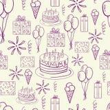 Modell för klotter för Happe födelsedagvektor sömlös Royaltyfria Bilder