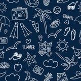 Modell för klotter för sommarsemester sömlös stock illustrationer