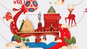 Modell 2018 för kopp 3d för stad för värd för konst för fotbollfotbollRyssland Nizhny Novgorod värld 3dmodel arkivfilmer