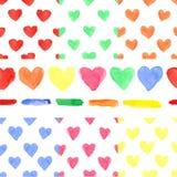 Modell för kulör hjärta för vattenfärg sömlös Behandla som ett barn Arkivbilder