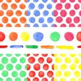 Modell för kulör prick för vattenfärg sömlös Behandla som ett barn Royaltyfria Bilder