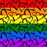 Modell för kulöra hjärtor för regnbåge för glad stolthet sömlös royaltyfri illustrationer