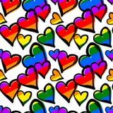 Modell för kulöra hjärtor för regnbåge för glad stolthet sömlös vektor illustrationer