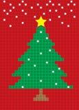 Modell för kvarter för vykort för träd för glad jul Royaltyfria Bilder