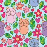 Modell för liten förälskelse för blad för kattblomma gullig sömlös vektor illustrationer