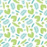 Modell för ljus tropisk sommar för vektor hawaiansk sömlös med tropiska gröna växter och sidor på marinblå bakgrund stock illustrationer