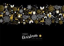 Modell för lyckligt nytt år för glad jul retro guld- Royaltyfri Bild