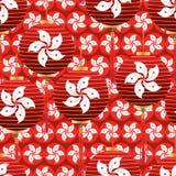 Modell för lykta för Hong Kong flaggabeståndsdel sömlös royaltyfri illustrationer