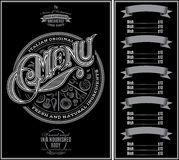 Modell för menypizza över svart bakgrund och kalligrafi Arkivbild